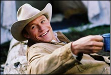 """I """"Brokeback Mountain"""" har Heath Ledger overbevist som forelsket homse..."""