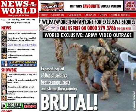 Stillbilder fra videoen er trykket i en britisk avis. (Faksimile: News of the Worlds nettside)