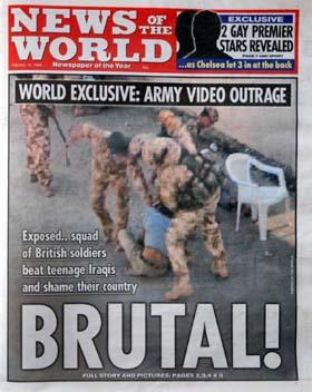 News of the Worlds førsteside søndag. (Foto: AP)