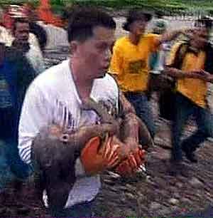 Et lite barn tas hånd om etter naturkatastrofen. Fillipinsk fjernsyn