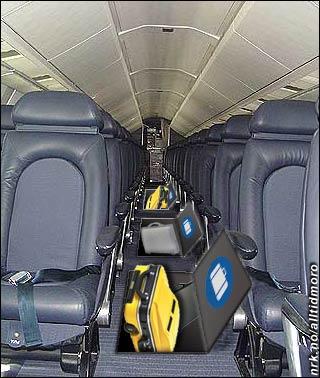 SAS Braathens selvbetjente bagasjehåndtering: Løft luken, slipp bagasjen rett ned i lasterommet.