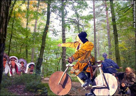 Leiv Eirikssons første møte med indianerne. (Innsendt av Omar Øverland)