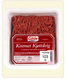 Slik ser de inndratte pakkene med kjøttdeig fra Gilde ut. (Foto: Gilde)