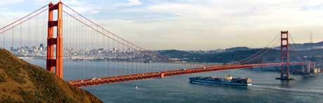 Golden Gate må sjå seg slått av hardangerbrua i lengde. (Foto: AP Photo/Eric Risberg)