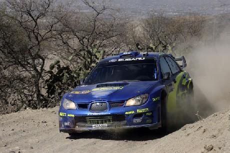 Petter Solberg er i tet etter første fartsprøve i Mexico, men de andre favorittene ligger tett etter.(Foto: www.swrt.com)