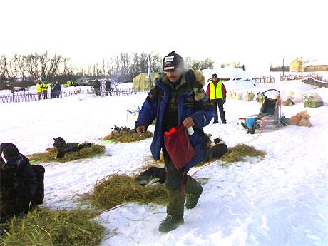 FROKOST: Roger Dahl (Alta) har lagt ut halm og fórer hundene i Varangerbotn onsdag morgen. Foto: Jenny Duesund