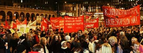 Fra fjorårets 8. mars-markering i Oslo. (Foto: SCANPIX)