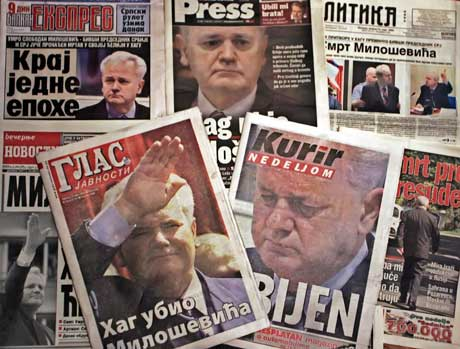"""""""Haag drepte Milosevic"""" skriver serbiske aviser. Foto: Scanpix/AP."""