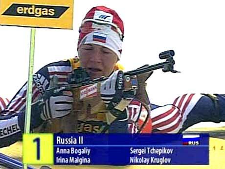 Russerne vant VM mixedstafetten. (Foto: NRK)