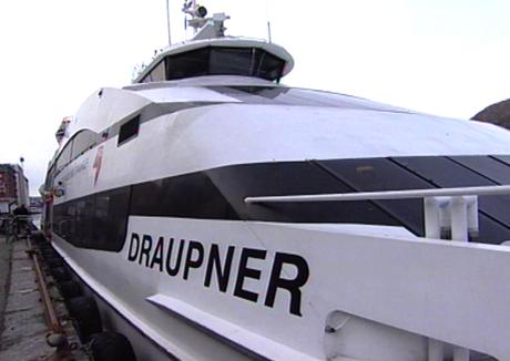 Brann i Draupner. Foto: NRK.