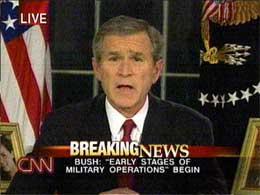 USAs president George W. Bush orienterte om at krigen var i gang i en tale 19. mars 2003. (Arkivfoto: CNN/AFP/Scanpix)