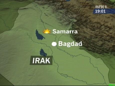Samarra ligger rundt 100 kilometer nord for Bagdad. (Grafikk: NRK)