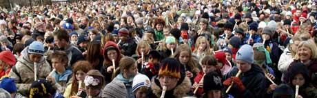 Skingrende verdensrekordforsøk i Bergen (Foto: SCANPIX)