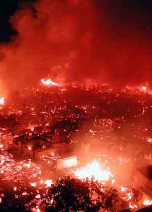 Området Camino Nuevo i byen Zamboanga i flammer. Foto: Reuters