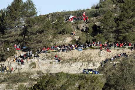 Publikum, helikopter og raske biler. Rally Catalonia har alt. Foto: www.swrt.com