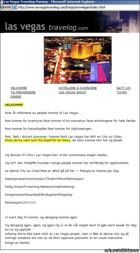 Nettstedet www.lasvegastravelog.com henvender seg til norske turister. (bildet er ikke manipulert)
