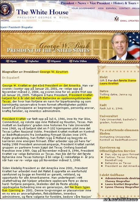 """George W. Bush blir på norsk George W. Krattet. Skolesatsingen """"No Children Left Behind"""" blir til """"Nei Barn Igjen Bak Gjerning""""."""