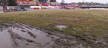 Fredrikstad Stadion er fortsatt ikke helt tørr. (Foto: Tor René Stryger)