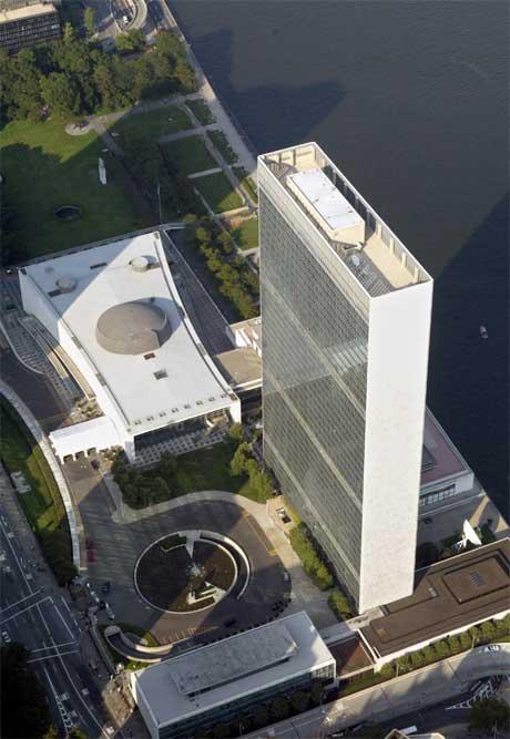 FN-hovedkvarteret i New York trenger oppussing, men USA er skeptisk. (Arkivfoto: Kathy Willens/ AP/ Scanpix)