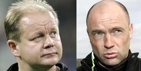 Lillestrøms Uwe Rösler (t.h.) lover RBKs Per Mathias Høgmo kamp. (Foto: Gorm Kallestad / SCANPIX)
