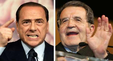 Frontene er steile. Italias statsminister Silvio Berlusconi og rivalen Romano Prodi.(Fotomontasje NRK)