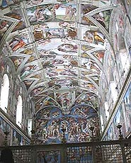 Michelangelos fantastiske fresker i det Sixtinske kapell. Foto Nina Skurtveit/NRK.
