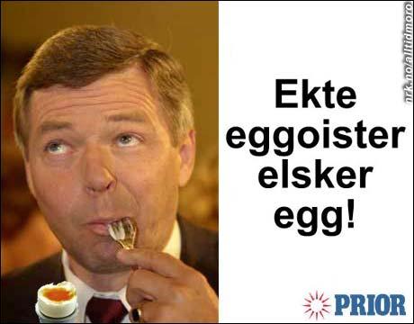 Prior benytter tidligere statsminister Kjell Magne Bondevik i påskens annonser for egg. (Innsendt av Henrik Hope)
