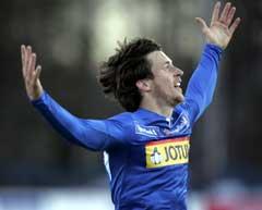 Sandefjords Andreas Tegstrøm jubler etter å ha scoret mot Ham-Kam. (Foto: Heiko Junge / SCANPIX)