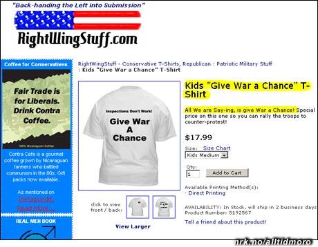 """Lennon-inspirert T-skjorte for barn, men med motsatt fortegn: """"Inspections don't work. Gi krigen en sjanse!"""""""