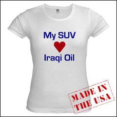 Miljøvern-hippier klager over at store biler, såkalte SUVer, sluker bensin. Men noen er fornøyd med at man dermed får utnyttet ressursene i Irak.
