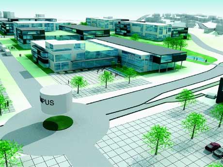 Campus Borg på Grålum er Sarpsborg kommunes søknad om å få beholde realfagutdanningen. (Grafikk: Sarpsborg kommune/Campus Borg)