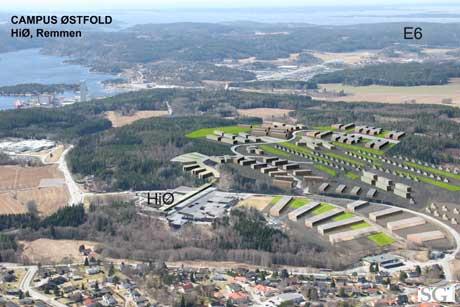 Campus Østfold er Haldens bidrag til konkurransen om realfagstudentene. Den skal i så fall ligge ved Høgskolesenteret ved Remmen i Halden (Ill. Capus Halden/Halden kommune)