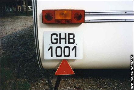 Det forlokkende skiltet på campingvogna til Rune Rudberg.
