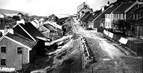 Ruseløkkbakken i Vestre Vika, Kristiania, ca 1880. (Arkivfoto: SCANPIX)