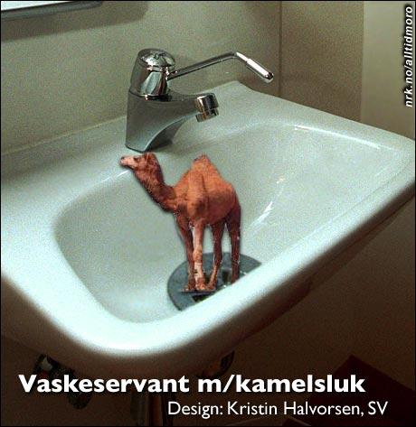 """Nye vaskeservanter installeres i disse dager i regjeringsbygget. (Alltid Moro, etter en ide av """"tidligere SV-velger"""".)"""