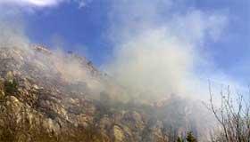 Brannen fører til røyk over store område. Foto: Ragnar Christensen, NRK.