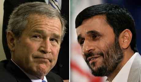President Ahmadinejad (t.h.) har sendt brev til president Bush. (t.v.) (AFP)