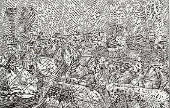 Haglvêret under slaget i Hjørungavåg. Frå den illustrerte Snorre-utgåva. Teikning: Halfdan Egedius