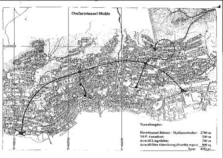 Skisse av den planlagte bytunnelen under Molde sentrum fra området bak Glamox til Reknesområdet bak Bjørnsonhuset.