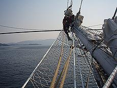 Mange spennende klatremuligheter. Skuta er snart i Bergen. Foto Ingvild Valsø.