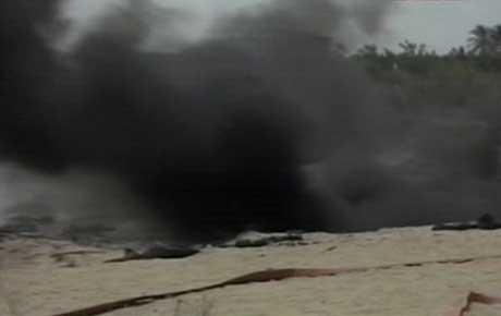 Brannen var voldsom og røykutviklingen kraftig (Foto NRK)