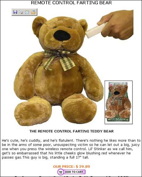 Teddybjørner er gammeldags, nå i vår er det prompebjørner som gjelder. Lyd og grimase styrer du enkelt med fjernkontrollen.