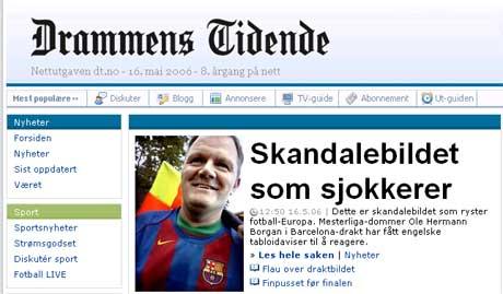 Dommer Ole Hermann Borgan i Barcelona-drakt. (Faksimile fra Drammens Tidene)