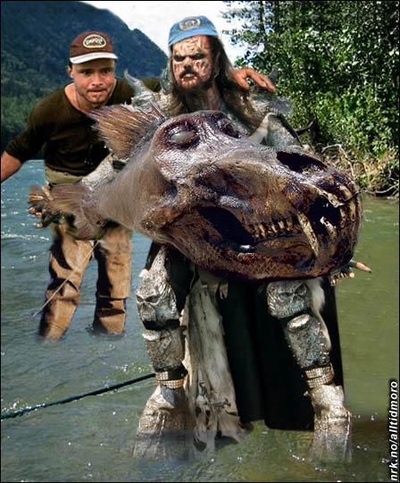 Fikk monsterfisk: Lordi og Lars på fisketur. (Alltid Moro)