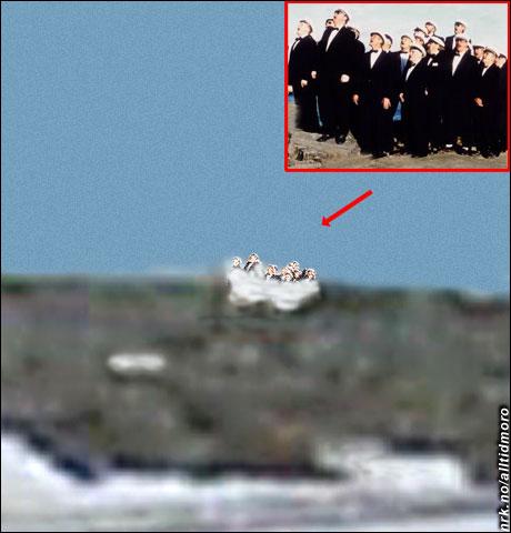 ... viste seg etter nærmere undersøkelser å være Berlevåg Mannskor, som hadde frosset fast i en snøfonn under en sangøvelse i fjor høst. (Alltid Moro)