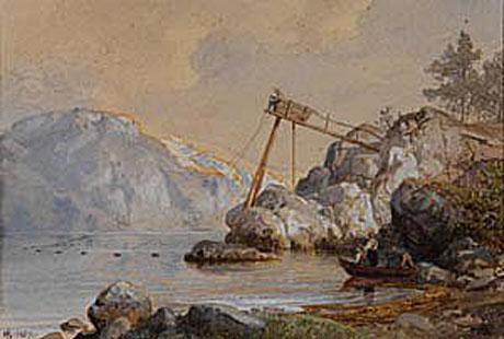 Hans Fredrik Gude: Fisker med laksevarp (1857)