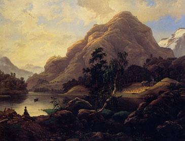 Knud Baade: Fra Bærumsvandet i Nordfjord 1858 (truleg <br/>Breimsvatnet) © Blomqvist Kunsthandel.