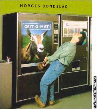 Også Norges Bondelag har problemer med sine utplasserte automater for tiden. (Alltid Moro)