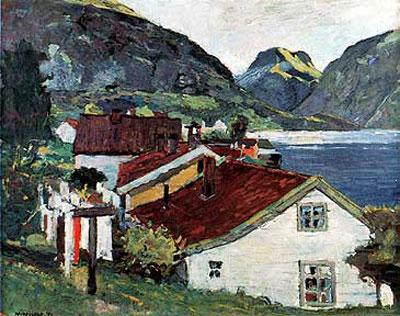 Johannes Vinjum: Fra Aurland (1950) Blomquist Kunsthandel.