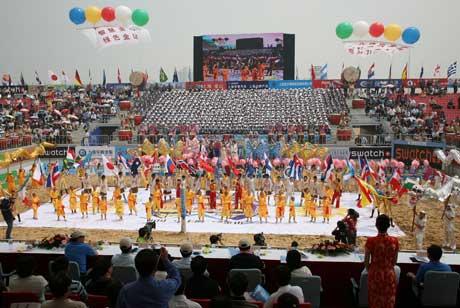 Show under åpningsseremonien i Shanghai. (Foto: FIVB)
